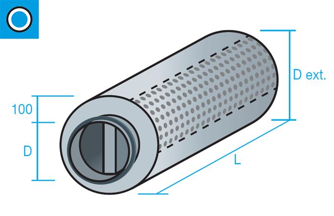 Silenciador circular de aislamiento acústico 100mm con núcleo central