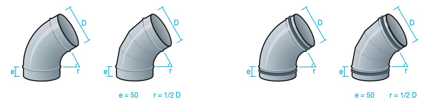 codos 60 grados para conducto circular