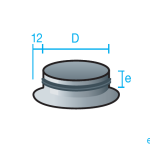 Manguito estampado con pestaña 12mm con junta de goma para conducto circular