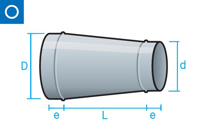 Reducción conéntrica para conducto circular