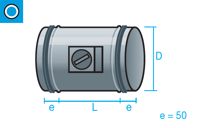 Regulador de caudal manual con cierre hermético y junta de goma para conducto circular
