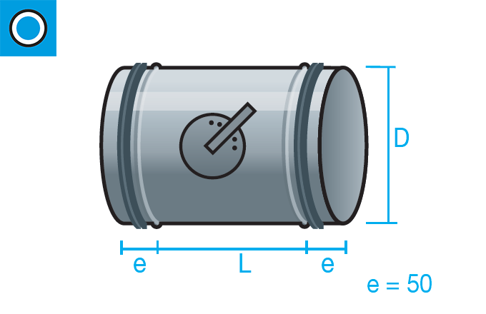 Regulador de caudal manual con junta de goma para conducto circular