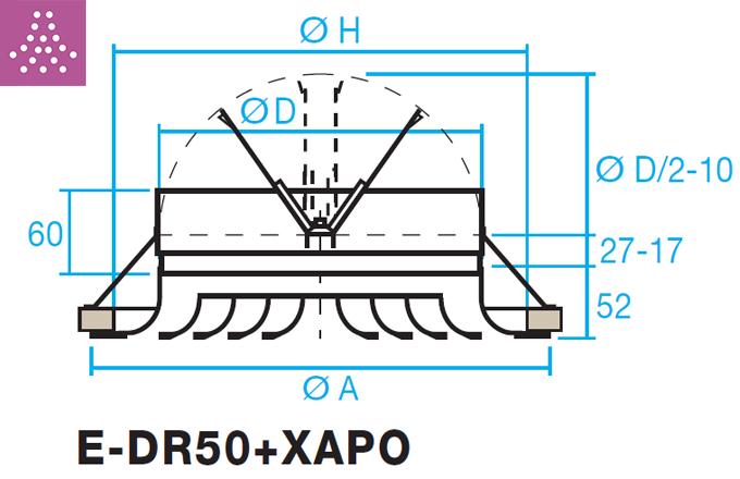 Difusor circular de cono fijo E-DR50+XAPO