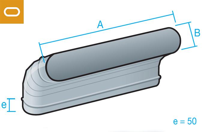 Accesorio conducto oval - codo vertical