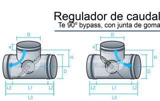 regulador de caudal Te con bypass