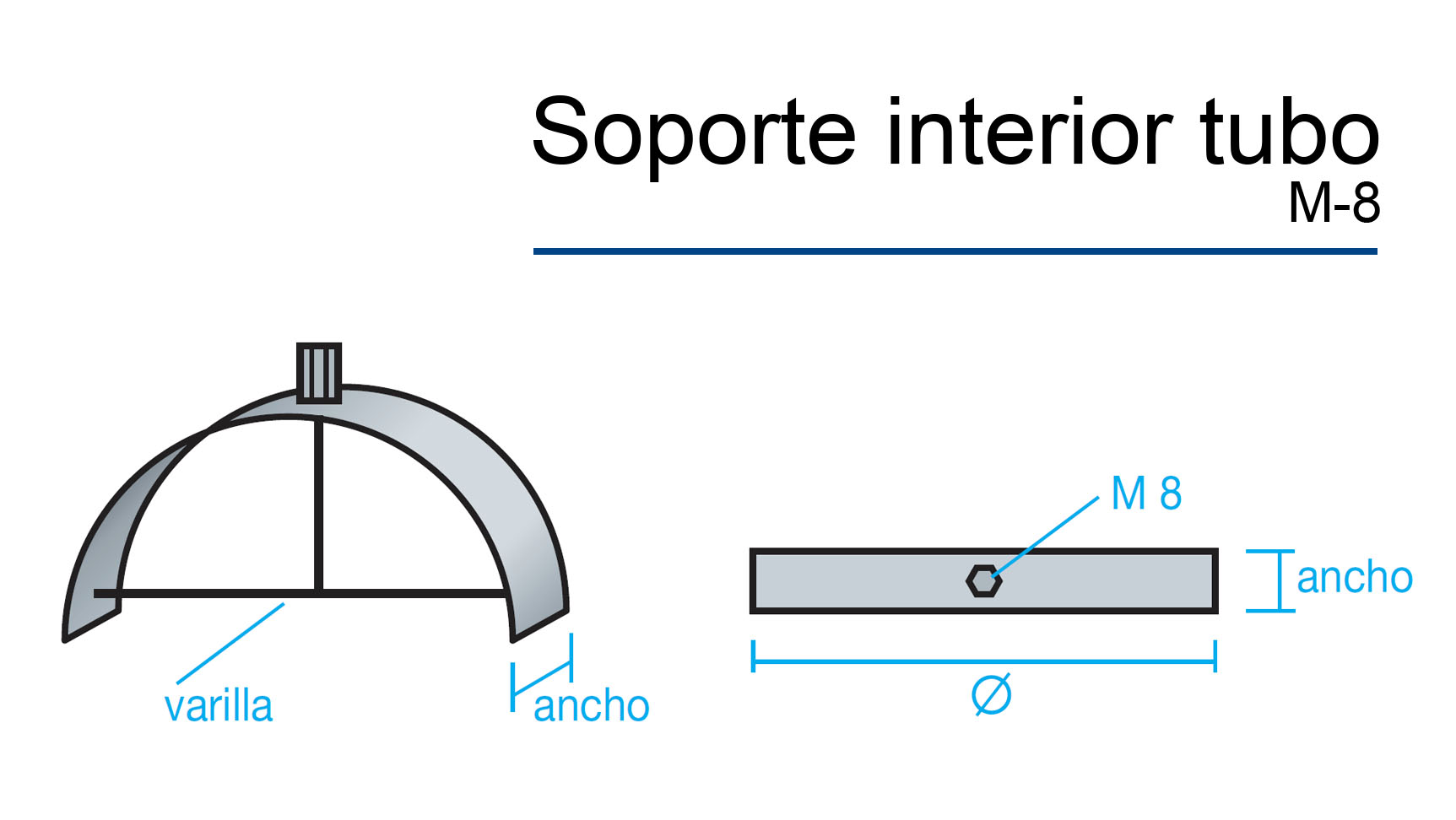 soporte interior tubo M8