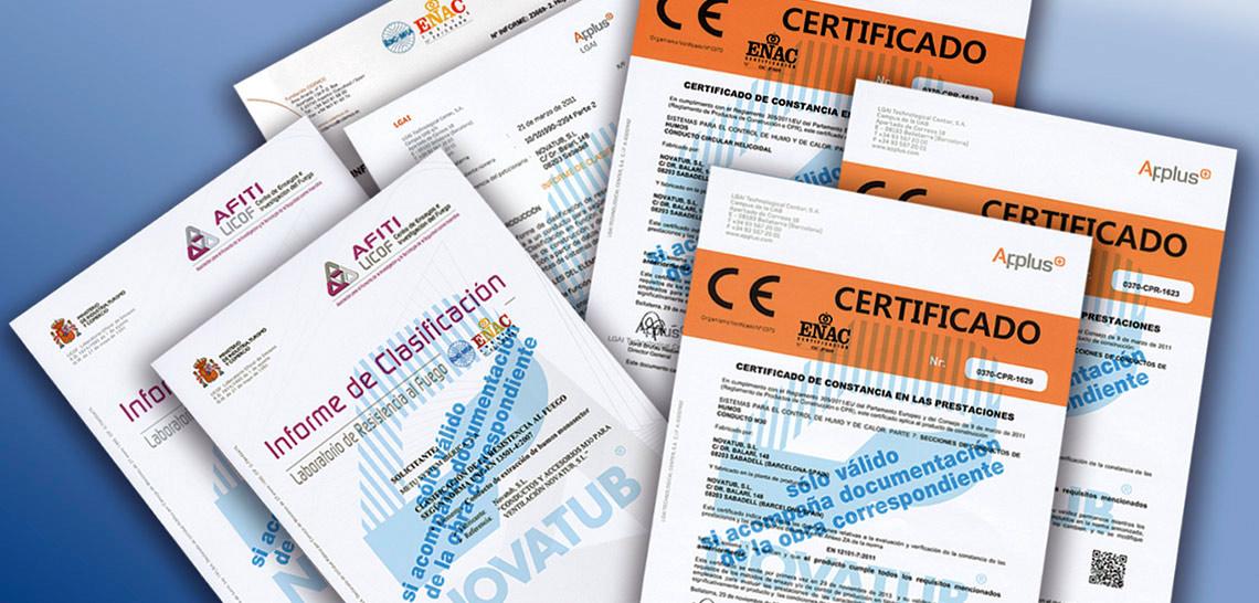 Certificados CE y homologaciones Novatub