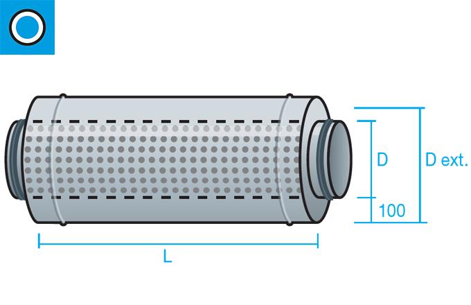 Silenciador circular de aislamiento acústico 100mm