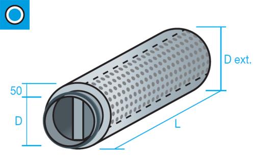 Silenciador circular de aislamiento acústico 50mm con núcleo central
