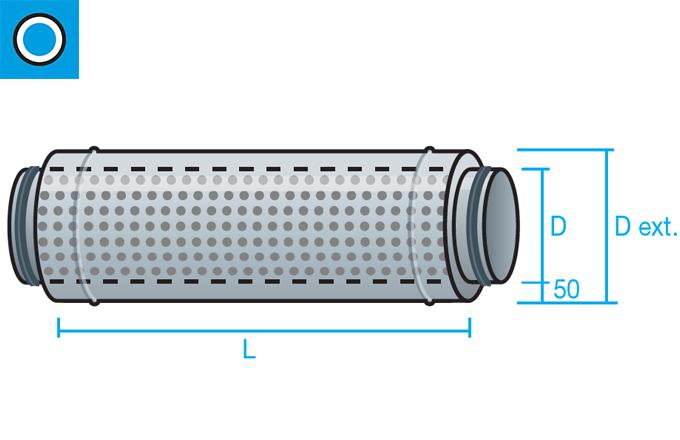 Silenciador circular de aislamiento acústico 50mm