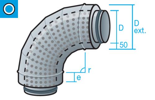 Silenciador circular tipo codo de 90 grados de aislamiento acústico 50mm