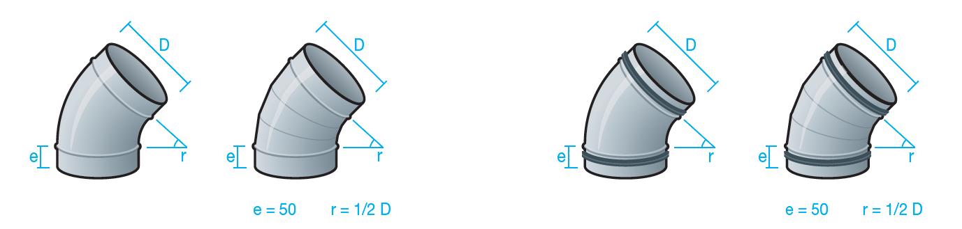 codos 45 grados para conducto circular