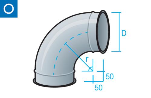 Codo con pestaña para tubo liso