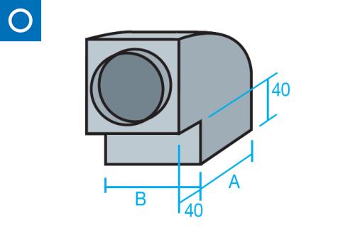 Codo rectangular con tapa circular