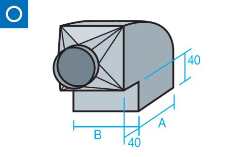Codo rectangular con tolva circular