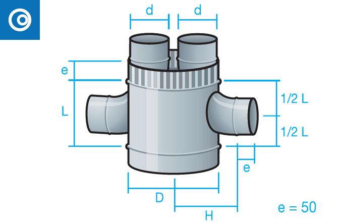 Cruz Shunt con tubo interior para conducto circular autoconectable