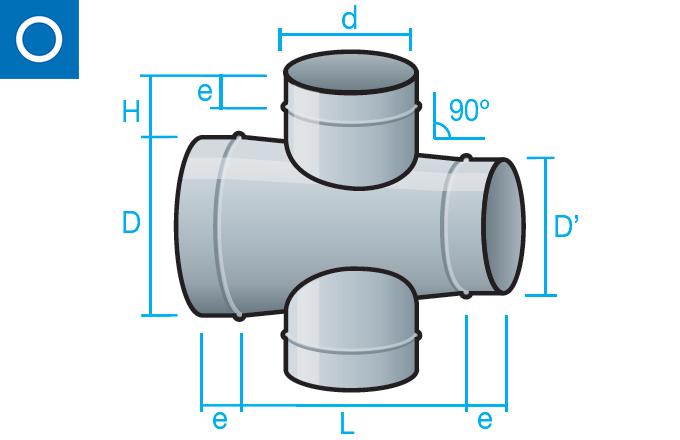 Cruz cónica con reducción a 90 grados para conducto circular