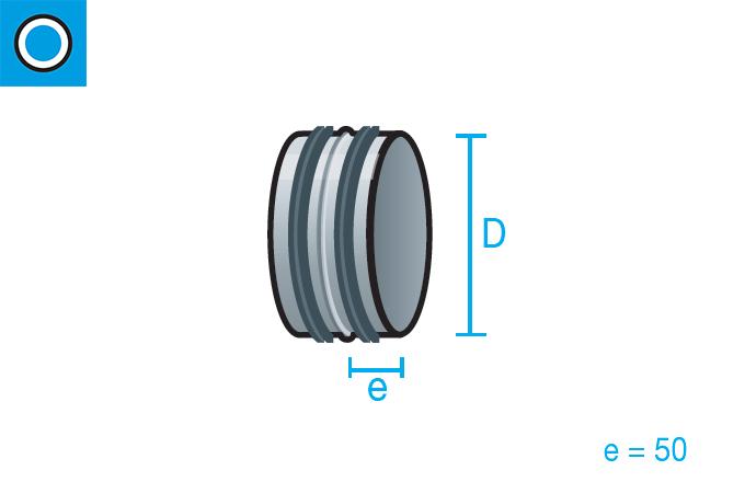 Manguito simple con junta de goma para conducto circular