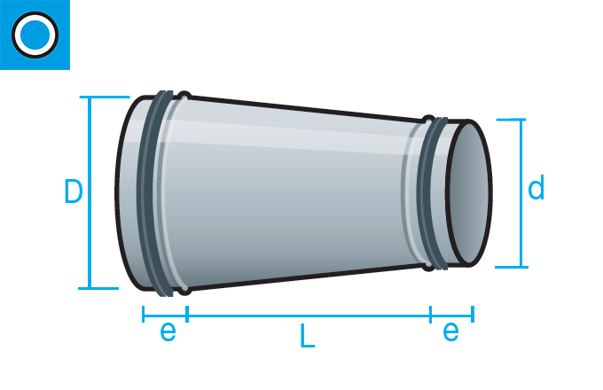 Reducción conéntrica con junta de goma para conducto circular