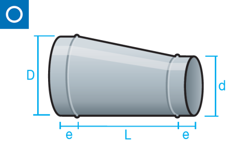 Reducción excéntrica para conducto circular