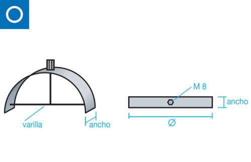 soporte interior tubo m8 tubo circular