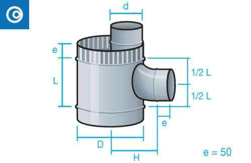 Te Shunt con tubo interior para conducto circular autoconectable