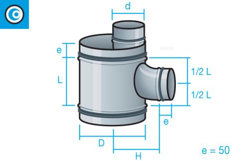 Te Shunt con tubo interior para conducto circular con junta de goma