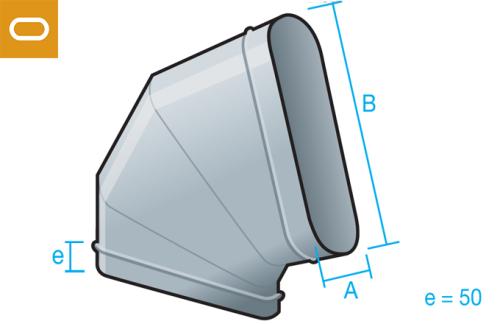 Accesorio conducto oval - codo horizontal
