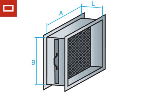 Portafiltros rectangular para manta filtrante